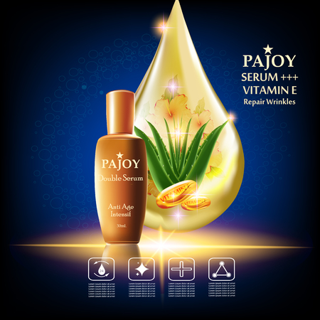 wrinkles: Pajoy , Serum repair wrinkles , Background Vector Concept with alovela, vitamin e  in gold drop of water and  gold package