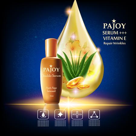 Pajoy, les rides de réparation de sérum, fond Vector Concept avec alovela, vitamine e en goutte d'or du paquet d'eau et de l'or Vecteurs