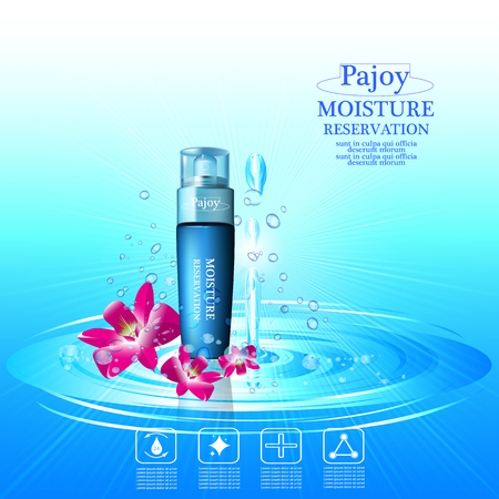 absorption: Pajoy. moisture cream reservation, Improves moisture absorption for skin in the  splash water and orchids Illustration