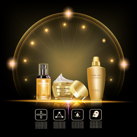 Ensemble de soins de la peau de beauté. Crème d'hydratation double, solution de collagène, crème de lotion, paquets d'or dans l'effet d'éclairage Illustration