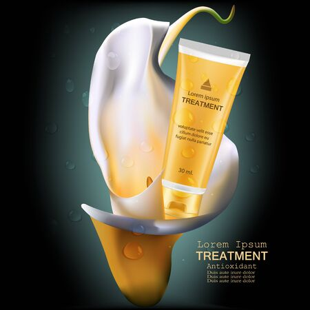 anti age: Treatment antioxidant cream , Vitamin Beauty Concept Skin Care Cosmetic.Background Vector Concept with gold package in calla lily and drop of water Illustration