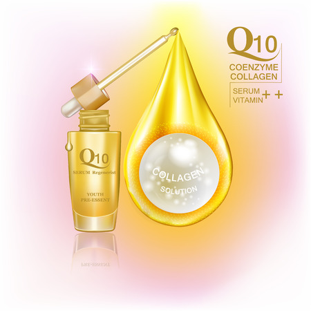 Q10  coenzyme , collagen and Serum , Background Vector Concept with gold package and pearl in drop of gold water