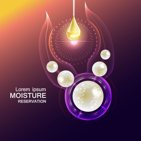 Moisture cream reservation, Improves moisture absorption for skin care. Background Vector Concept with pearls and gold drop of water in lighting effect