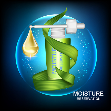 Moisture cream reservation, Improves moisture absorption for skin care. Background Vector Concept with green leave and gold drop of water in lighting effect
