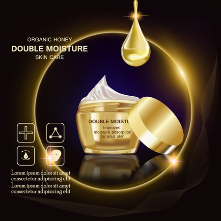 Double moisture cream, Improves moisture absorption for skin in the gold jar