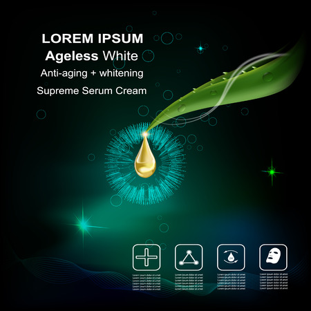 anti aging: serum cream and Vitamin Beauty Concept Skin Care Cosmetic.Background Vector Concept with green aloe vera  leave , serum anti aging whitening and ageless white for skin naturals Illustration