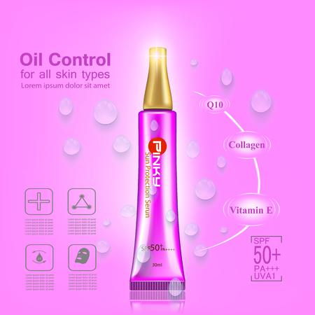 skin burns: Pinky sun protection serum ,UV and Whitening Cream Skin care concept Illustration