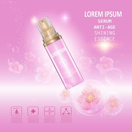 Serum anti age. Background Vector Concept with pink and gold bottle , bubble in lighting effect