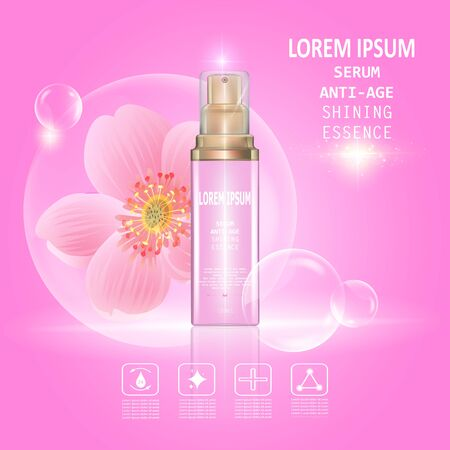 anti age: Serum anti age. Background Vector Concept with pink and gold bottle , bubble in lighting effect