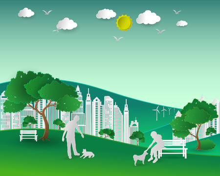 earth day: Concept of eco with nature and building,couple love dogs happy in the city park,paper art and craft style,vector illustration
