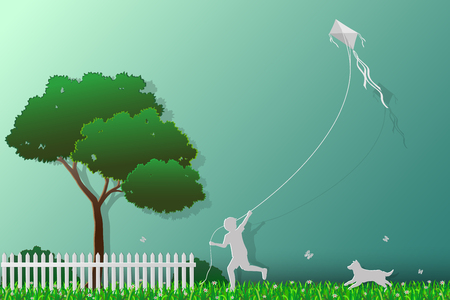 butterfly background: Concept of love the earth,save the environment and nature,happy child playing kite in the meadow with dog,paper art style,vector illustration
