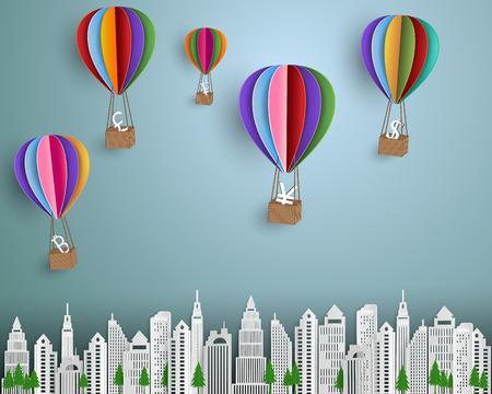 ビジネスと金融の概念、市紙アート スタイルにカラフルな熱い空気バルーン浮遊通貨記号のグループ ベクトル イラスト