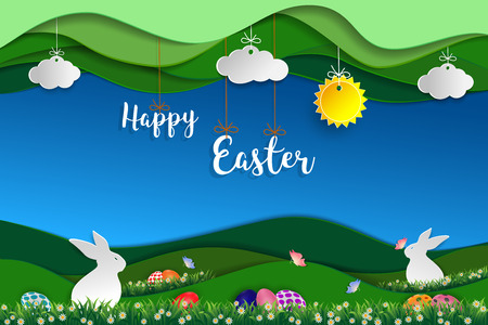 Easter day with white rabbits,colorful eggs,butterfly and little daisy on grass,Green nature landscape paper art scene background,vector illustration