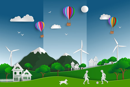Concept of eco friendly save the world and environment with green nature landscape paper art scene background,child playing football in the field with dog,vector illustration