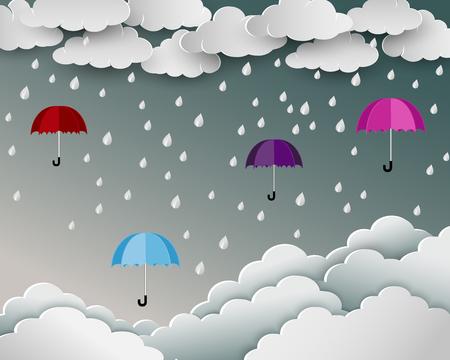 Season of rainy in paper art scene background,umbrella floating over the cloud nature landscape,vector illustration