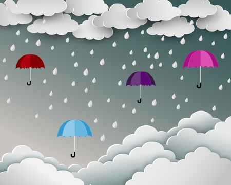 Season of rainy in paper art scene background,umbrella floating over the cloud nature landscape,vector illustration