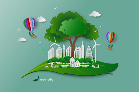 Save the environment conservation ecology concept,family happy and relax with green nature,white paper art building on leaf shape abstract background,vector illustration