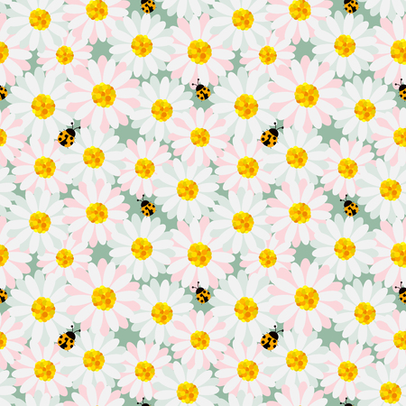 Cute pastel flowers seamless repeat pattern with ladybug on soft green background,design for fabric,textile,print or wrapping paper,vector illustration