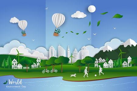 Concept of eco friendly save the world and environment,Childs playing soccer with white clean city on paper art scene abstract background,vector illustration Ilustração