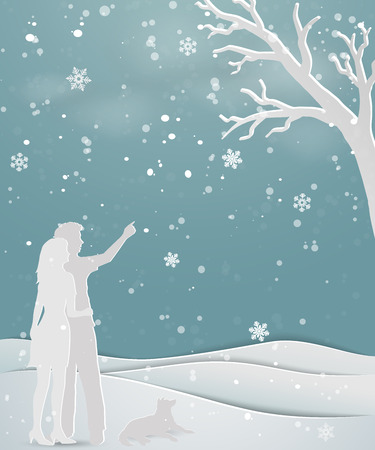 Concept of love in winter season on paper art scene abstract background,couple standing on snow with dog,for holiday,celebration party,Christmas or new year,vector illustration 矢量图像