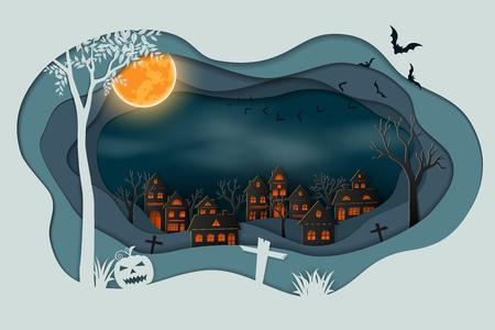 Paper art of happy halloween,Bats flying in the sky above dark village background,vector illustration