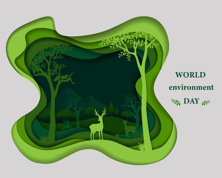 La silueta de la familia de los ciervos en papel verde corta el fondo abstracto de la forma, salva el concepto de conservación de la naturaleza y el medio ambiente con el paisaje del desierto del bosque, ilustración vectorial Ilustración de vector