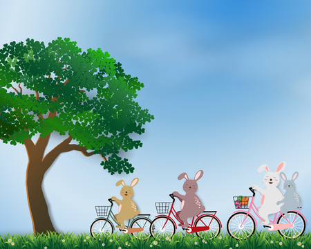 Cute rabbits the gang happy in the meadow on sunshine day for Easter holiday,invitation,greeting card or poster,vector illustration  イラスト・ベクター素材
