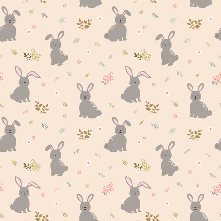 Seamless pattern with rabbits the gang on cute floral background.Perfect for kid product,apparel,fashion,fabric,textile,print or wrapping paper,vector illustration
