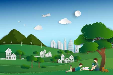 Green nature city with childs reading books under the trees,background for World book day or International Education Week,vector illustration