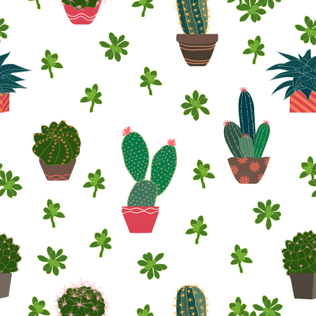 Cute cactus and succulent plants on pot seamless pattern for decorative,fashion,fabric,textile,print or wallpaper,vector illustration