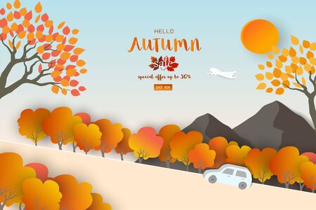 Autumn or fall landscape background with space for your text,for poster,advertising,website,flyer,template,voucher discount or online shopping,vector illustration