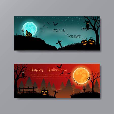 Conjunto de Feliz Halloween con luna llena para fiesta, cartel, banner, plantilla, sitio web o fondo, ilustración vectorial