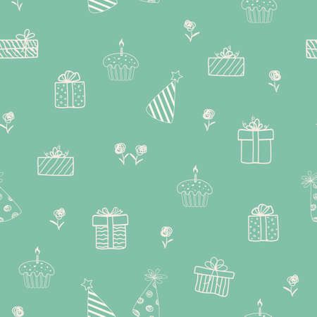 Hand drawn doodle sketch with gift boxes and cupcake on green background,seamless pattern for decorative,celebrate party,print or wrapping paper,vector illustration