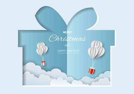 Merry Christmas and Happy new year greeting card,gift boxes flying in the air on paper cut background,vector illustration Ilustracja