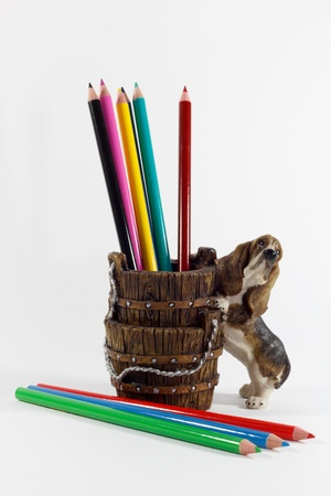Color Pencils in the Labrador Pencil Holder, White Background photo