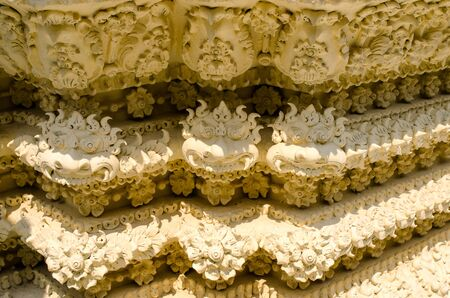 adorned: Stucco motifs adorned beautiful buildings in the temple Thailand. Stock Photo