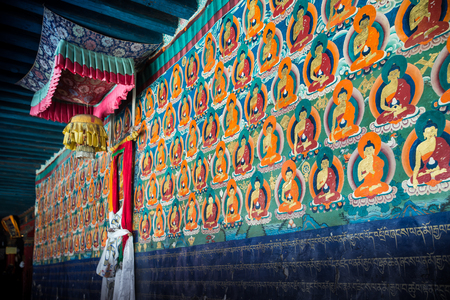 believes: A old painted Wall in Tashi Lhunpo monastery, Shigatse, Tibet.