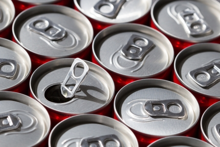Aligned Soda Cans Whith One Opened  Top view  Stock Photo