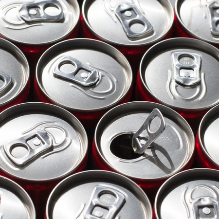 Soda Cans  One Opened Stock Photo - 20790754