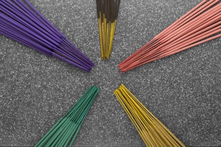 incense sticks: Colored Incense Sticks Stock Photo