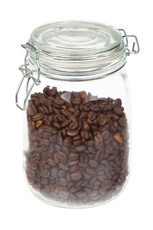 Coffee Beans In A Jar isolated on white Stock Photo