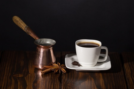 Coffee time  Dark scene on wooden background  Stock Photo - 20870478