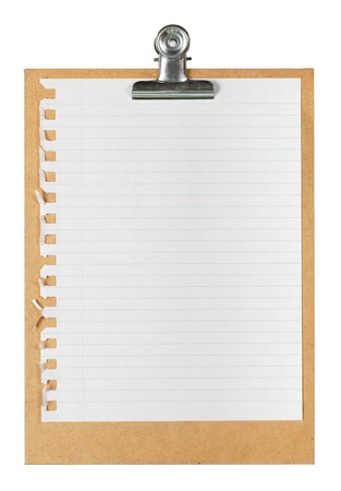 Notepad page on cardboard clipboard photo
