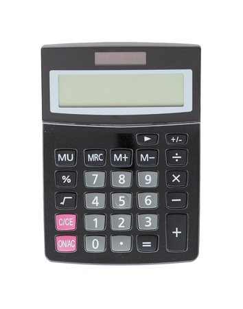Calculator  Turned off  Isolated on white  photo