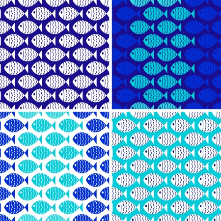 Four seamless patterns of fish  Use to create quilting patches or seamless backgrounds for various craft projects  Vector