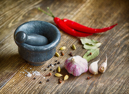 garam: Spices and mortar Stock Photo