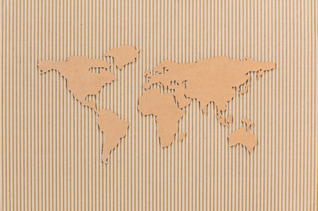 World map made of corrugated fiberboard  World wide shipping concept Stock Photo
