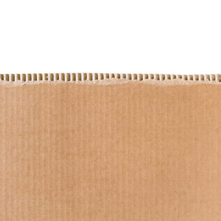 Torn cardboard sheet isolated on white with place for text  Square format  Stock Photo