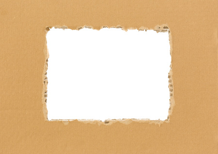Frame of torn cardboard isolated on white photo