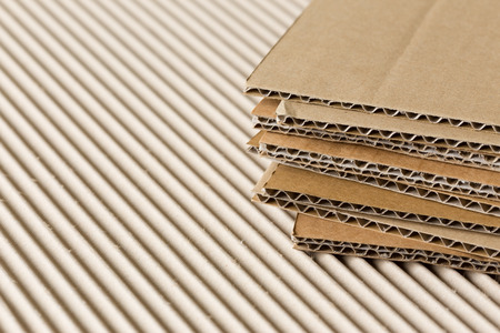 corrugate: Pile of corrugated cardboard  Shallow DOF, macro shot  Stock Photo